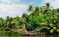 Fishing nets at the black waters of Kerala.