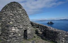A stone, beehive-shaped hut at Skellig Michael. Credit: Ireland Tourism Board