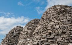 Stone, beehive-shaped huts on Skellig Michael.