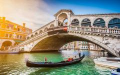 A gondola on the grand canal in Venice, Italy.