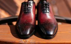 Brown Italian leather shoes.