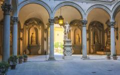 The courtyard of the Palazzo Medici in Florence, Italy.