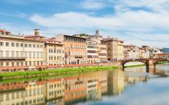 The Arno river runs through Florence, Italy.