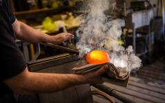 A glass-blowing demonstration in Murano.