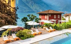 A swimming pool in front of Lake Como in Italy.