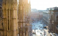 Looking down from Milan Cathedral onto Piazza del Duomo in Italy.