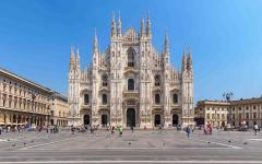 Milan Cathedral on Piazza del Duomo, Italy.