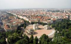Aerial view of the city gate Porta Sempione in Milan, Italy.