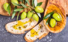 Fresh olive oil tasting.