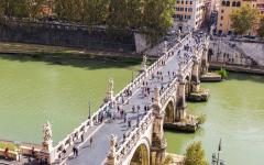 The Ponte Sant'Angelo crosses the river Tiber in Rome, Italy.