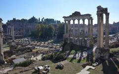 the Roman Forum basks in sunshine, Rome.