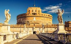 The bridge to Castel Sant'Angelo in Rome, Italy.