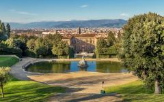 A view of Boboli Gardens and the Fountain of Neptune.
