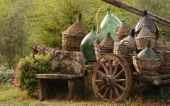 A cart full of wine bottles.