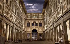 Uffizi Gallery at night.