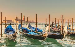 A row of gondolas in Venice, Italy.