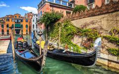 Two parked gondolas in Venice, Italy.