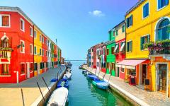 Burano island in Venice is known for its brightly colored fishermen's houses.