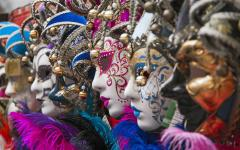 Masks worn during The Carnival of Venice, Italy.