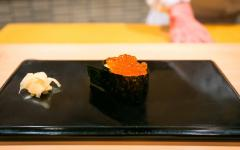 Salmon Roe served at Sukiyabashi Jiro, Jiro Ono's michelin-starred sushi restaurant. Photo by City Foodsters on Flickr.