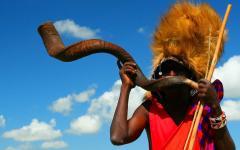 Warrior in Masai Mara National Park Kenya Africa