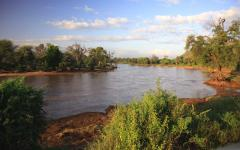 View of the Ewaso Nyiro River at dusk   Samburu National Reserve, Kenya, Africa