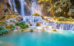 Rainforest waterfall at Luang Prabang, Laos.
