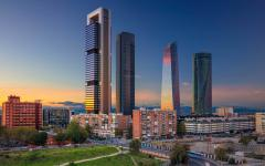 spain madrid financial distrcit with skyscrapers at sunset