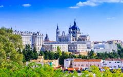 spain madrid landscape view of almudena cathedral