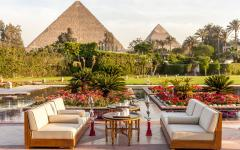 Outdoor seating with a view of the Pyramids of Giza, at Mena House Hotel. Photo: Courtesy Mena House Hotel