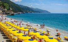 A beach in Monterosso al mare on the Ligurian coast, Italy.
