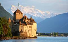 view from the north of Chateau de chillon located on an island in Lake Geneva