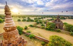 Pagoda landscape in the plain of Bagan