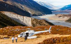Helicopter ride over the beautiful landscape of Dobson Valley, New Zealand