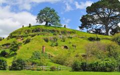Rolling green hills of the movie set, Hobbiton.