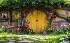 The Hobbiton movie set near Matamata in the North Island of New Zealand.