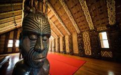 The inside of a Marae, a Maori meeting house.