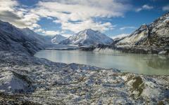 Frozen Tasman Lake in the Tasman Valley of Mount Cook National Park.