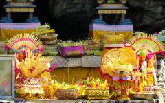 Ceremonial offerings at Goa Lawah Temple in Bali.