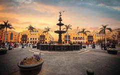 Lima's square at sunset.