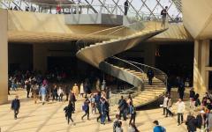 People inside the Louvre, Paris.
