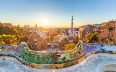 spain barcelona park guell overlooking the city at sunset