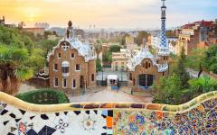 spain barcelona view of the city at sunset from park guell