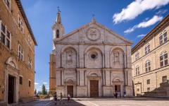 Pienza square of the Cathedral in Tuscany.