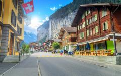 the main street in Lauterbrunnen Switzerland