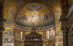 The Basilica of Santa Maria in Trastevere, Rome, Italy.
