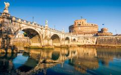 Castel Sant'Angelo and the river Tiber in Rome, Italy.