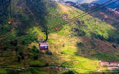 Taking in a view of Sa Pa from a cable car.