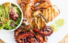 A dish of shrimp and octopus in Zanzibar.