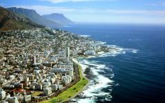 Aerial view of the Cape Town coastline in South Africa